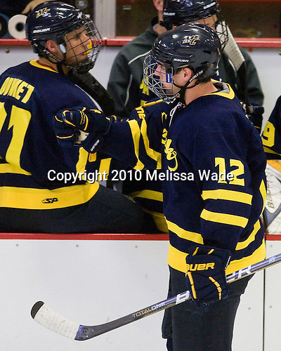 Brandon Brodhag (Merrimack - 12) celebrates his goal which opened scoring late in the second period. - The visiting Merrimack College Warriors defeated the Harvard University Crimson 3-1 (EN) at Bright Hockey Center on Tuesday, November 30, 2010.