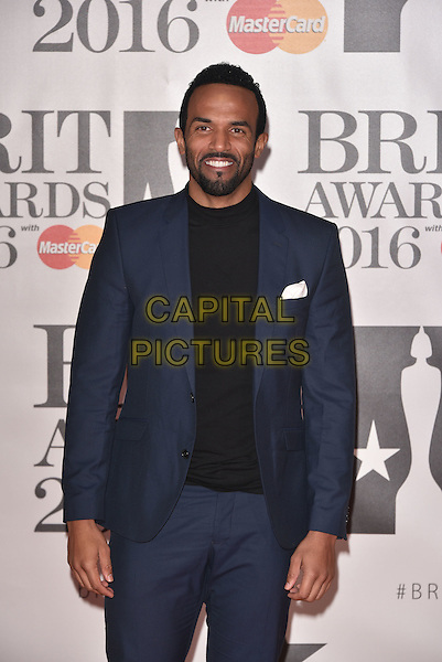 LONDON, ENGLAND - FEBRUARY 24: Craig David attends the BRIT Awards 2016 at The O2 Arena on February 24, 2016 in London, England<br /> CAP/PL<br /> &copy;Phil Loftus/Capital Pictures