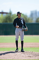 Chicago White Sox relief pitcher Wilber Perez (43) during an Instructional League game against the Kansas City Royals at Camelback Ranch on September 25, 2018 in Glendale, Arizona. (Zachary Lucy/Four Seam Images)
