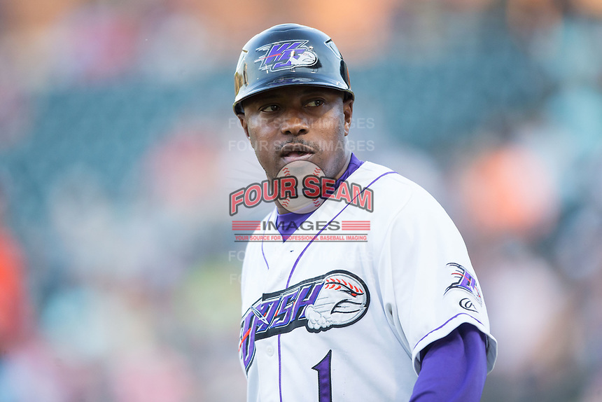 Winston-Salem Dash manager Willie Harris (1) coaches third base during the game against the Buies Creek Astros at BB&T Ballpark on April 15, 2017 in Winston-Salem, North Carolina.  The Astros defeated the Dash 13-6.  (Brian Westerholt/Four Seam Images)