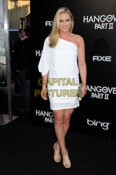 "LINDSEY VONN .""The Hangover Part II"" Los Angeles Premiere held at Grauman's Chinese Theatre, Hollywood, California, USA, 19th May 2011..2 full length sleeve dress clutch bag one shoulder white .CAP/ADM/BP.©Byron Purvis/AdMedia/Capital Pictures."