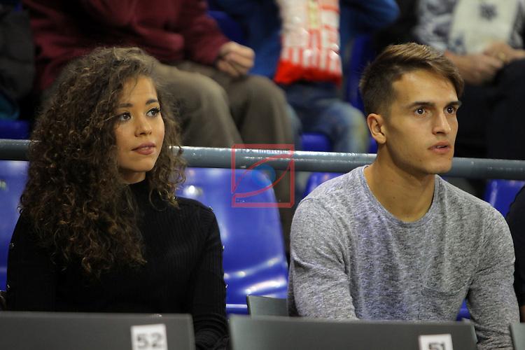 League ACB-ENDESA 2016/2017. Game: 11.<br /> FC Barcelona Lassa vs Herbalife Gran Canaria: 79-78.<br /> Sandra Montoto &amp; Denis Suarez.