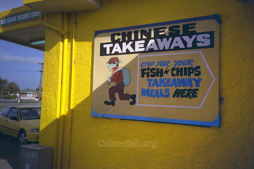 "Chinese Takeaways sign, Christchurch, New Zealand, depicting a thief as in ""takeaways""!"