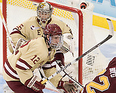 Parker Milner (BC - 35), Kevin Hayes (BC - 12) - The Boston College Eagles defeated the University of Minnesota Golden Gophers 6-1 in their 2012 Frozen Four semi-final on Thursday, April 5, 2012, at the Tampa Bay Times Forum in Tampa, Florida.