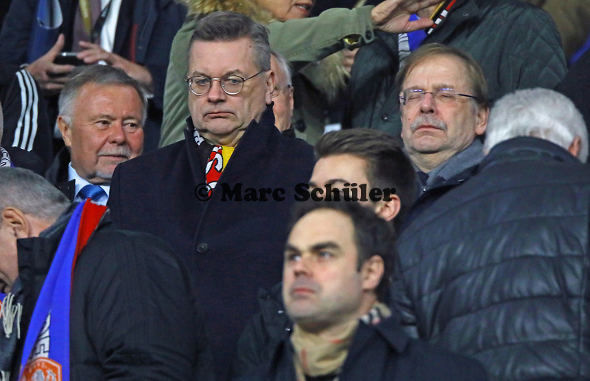 DFB Präsident Reinhard Grindel und Vizepräsident Rainer Koch versteinert - 19.11.2018: Deutschland vs. Niederlande, 6. Spieltag UEFA Nations League Gruppe A, DISCLAIMER: DFB regulations prohibit any use of photographs as image sequences and/or quasi-video.