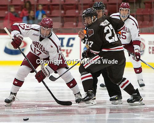 Sean Malone (Harvard - 17), Mark Nacierio (Brown - 27) - The Harvard University Crimson defeated the visiting Brown University Brown Bears 5-2 (EN) on Saturday, November 7, 2015, at Bright-Landry Center in Boston, Massachusetts.