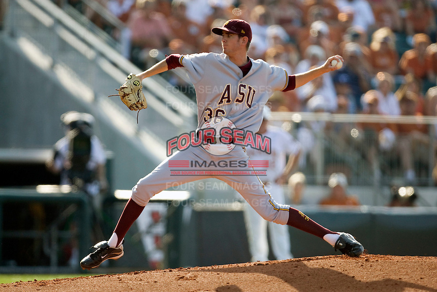 Arizona State Sun Devil pitcher Kyle Ottoson #36 delivers against the Texas Longhorns in NCAA Tournament Super Regional Game #3 on June 12, 2011 at Disch Falk Field in Austin, Texas. (Photo by Andrew Woolley / Four Seam Images)