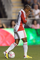 Robert Earnshaw (10) of Toronto FC reacts to being called offsides. The Philadelphia Union defeated Toronto FC 1-0 during a Major League Soccer (MLS) match at PPL Park in Chester, PA, on October 5, 2013.