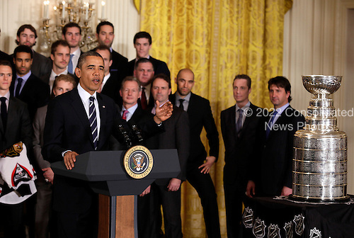 United States President Barack Obama honors the 2013 Stanley Cup Champion Chicago Blackhawks at the White House in Washington, November 4, 2013. <br /> Credit: Yuri Gripas / CNP