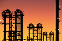 Petrochemical plant at dusk, Bayport industrial district. Houston Texas.