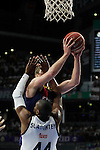 Real Madrid´s Slaughter blocks a Barcelona´s player during Liga Endesa Final first match at Palacio de los Deportes in Madrid, Spain. June 19, 2015. (ALTERPHOTOS/Victor Blanco)