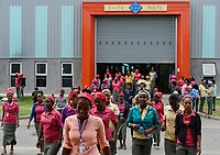 ETHIOPIA , Southern Nations, Hawassa or Awasa, Hawassa Industrial Park, chinese-built for the ethiopian government to attract foreign investors with low rent and tax free to establish a textile industry and create thousands of new jobs, taiwanese company Everest Textile Co. Ltd. , women go to canteen for lunch / AETHIOPIEN, Hawassa, Industriepark, gebaut durch chinesische Firmen fuer die ethiopische Regierung um die Hallen fuer Textilbetriebe von Investoren zu vermieten, taiwanesische Firma Everest Textile Co. Ltd., Frauen gehen zur Kantine in der Mittagspause