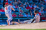30 July 2017: Colorado Rockies third baseman Nolan Arenado slides safely into third with an RBI triple in the 8th inning against the Washington Nationals at Nationals Park in Washington, DC. The Rockies defeated the Nationals 10-6 in the second game of their 3-game weekend series. Mandatory Credit: Ed Wolfstein Photo *** RAW (NEF) Image File Available ***