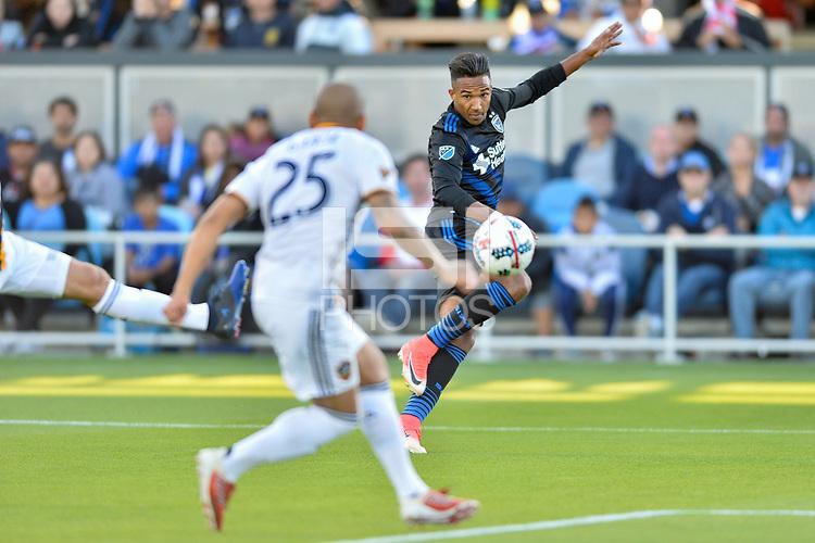 San Jose, CA - Saturday May 27, 2017: Danny Hoesen during a Major League Soccer (MLS) match between the San Jose Earthquakes and the Los Angeles Galaxy at Avaya Stadium.