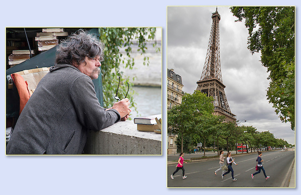 Booksellers and girls visiting Paris, France,