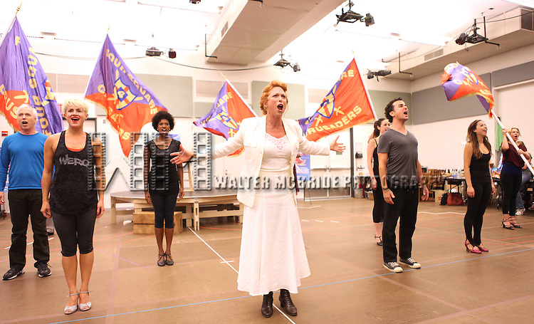 Actress Carolee Carmello and ensemble castperforming at the rehearsal presentation for 'Scandalous The Musical' at the New 42nd Street Studios on Monday, Sept. 24, 2012 in New York.