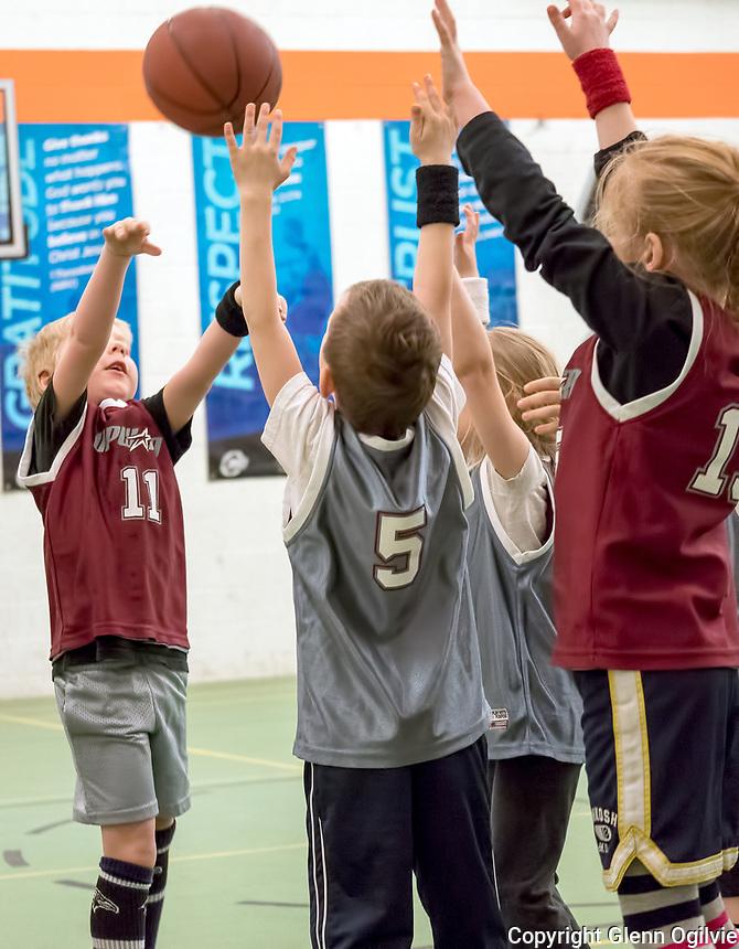 11-Andrew Johns, 5- River Kane, 1 - Annalise Johns Upward Sports Saturday basketball at Missionary Church