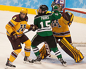 Brady Skjei (MN - 2), Michael Parks (North Dakota - 15) - The University of Minnesota Golden Gophers defeated the University of North Dakota 2-1 on Thursday, April 10, 2014, at the Wells Fargo Center in Philadelphia to advance to the Frozen Four final.