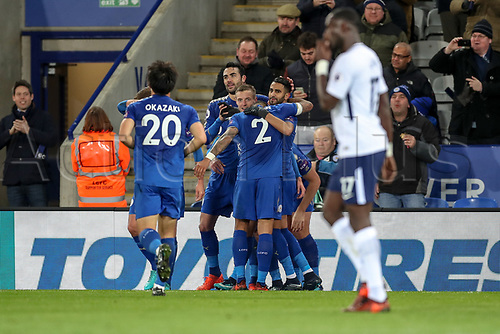 28th November 2017, King Power Stadium, Leicester, England; EPL Premier League Football, Leicester City versus Tottenham Hotspur; The Leicester City team celebrate going 2-0 in front in the 45th minute