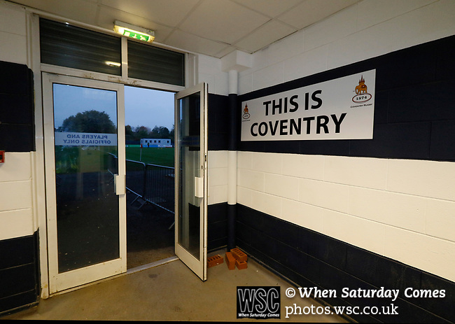 Coventry United 3 Highgate United 5, 17/10/2017. Butts Park Arena, Birmingham Senior Cup. This is Coventry sign at the players entrance at Butts Park Arena.  Photo by Paul Thompson.