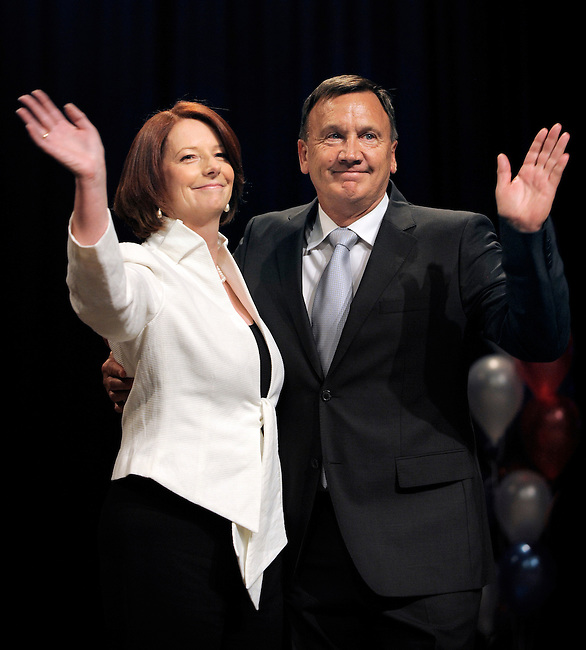 Prime Minister Julia Gillard with partner Tim Mathieson on Election Night