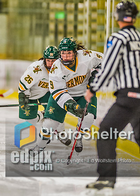 13 February 2015: University of Vermont Catamount Forward Dayna Colang, a Junior from Fairbanks, Alaska, leads a third period rush against the University of New Hampshire Wildcats at Gutterson Fieldhouse in Burlington, Vermont. The Lady Catamounts fell to the visiting Wildcats 4-2 in the first game of their weekend Hockey East series. Mandatory Credit: Ed Wolfstein Photo *** RAW (NEF) Image File Available ***