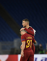 Football Soccer: UEFA Europa League round of 32 first leg AS Roma vs KAA Gent, Olympic stadium, Rome, 20 February, 2020.<br /> Roma's captain Edin Dzeko (r) and Carles Pérez  (l) celebrate after winning 1-0 the Europa League football match between Roma and Gent at the Olympic stadium in Rome on 20 February, 2020.<br /> UPDATE IMAGES PRESS/Isabella Bonotto