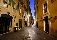 A view of a desert street with closed shops in Rome, Italy, March 10, 2020. The Italian government imposed restriction aimed to contain the Covid-19 spread, including cafes, restaurants and other shops forced to close at 6pm and forbidding personal movement.<br /> UPDATE IMAGES PRESS/Riccardo De Luca