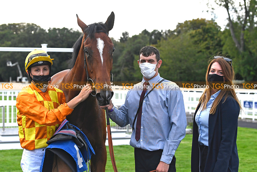 Winner of The British EBF Novice Stakes Second Slip ridden by George Wood and trained by James Fanshawe in the Winners enclosure during Horse Racing at Salisbury Racecourse on 11th September 2020