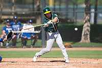 Oakland Athletics shortstop Nick Allen (1) swings at a pitch during an Instructional League game against the Los Angeles Dodgers at Camelback Ranch on October 4, 2018 in Glendale, Arizona. (Zachary Lucy/Four Seam Images)