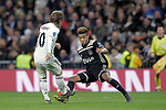 Real Madrid's Luka Modric and AFC Ajax's David Neres during a UEFA Champions League match. Round of 16. Second leg. March, 5,2019. (ALTERPHOTOS/Alconada)