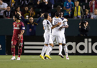 LA Galaxy forward Edson Buddle (14) scores the first goal of the game and celebrates with his teammates. The LA Galaxy defeated Real Salt Lake 2-0 at Home Depot Center stadium in Carson, California on Saturday April 17, 2010.  .