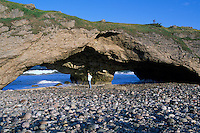 Newfoundland and Labrador, Canada - The Arches at Arches Provincial Park - Sea Wave Erosion along The Viking Trail (Highway 430), Northern Peninsula, Western Region (Model Released)