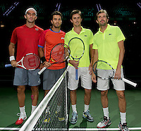 Rotterdam, The Netherlands. 15.02.2014. Jean-Julien Rojer(NED)/ Horia Tecau(ROE) and Julien Benneteau(FRA)/ Edouard Roger-Vasselin(FRA) at the ABN AMRO World tennis Tournament<br /> Photo:Tennisimages/Henk Koster