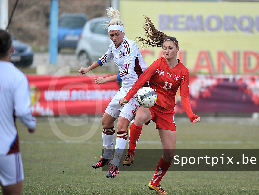 Switzerland U19 - Russia U19 : duel between Ksenia Kovalenko (left) and Barla Deplazes (right).foto DAVID CATRY / Nikonpro.be