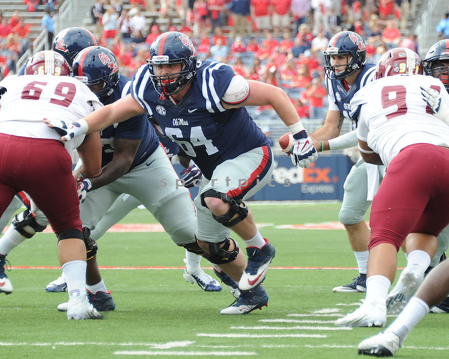 Ole Miss Rebels Ben Stll (64) during a game against the New Mexico State Aggies on October 10, 2015 at Vaught-Hemingway Stadium  in Oxford, MS. Ole Miss beat New Mexico State 52-3.