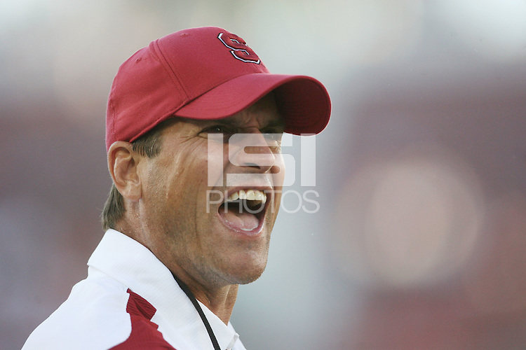 STANFORD, CA - AUGUST 28:  Jim Harbaugh of the Stanford Cardinal during Stanford's 36-28 win over the Oregon State Beavers on August 28, 2008 at Stanford Stadium in Stanford, California.