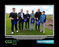 Glenlow Abbey Golf Club Boys with PJ Kavanagh from Bank of Ireland and Justin O'Byrne from CGI.<br /> Junior golfers from across connacht practicing their skills at the regional finals of the Dubai Duty Free Irish Open Skills Challenge supported by Bank of Ireland at Galway Bay golf club, Galway, Co Galway. 2/04/2016.<br /> Picture: Golffile | Fran Caffrey<br /> <br /> <br /> All photo usage must carry mandatory copyright credit (© Golffile | Fran Caffrey)