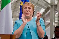 Roma 4 Giugno 2015<br /> Il presidente della Repubblica del Cile Michelle Bachelet in visita ufficiale a Roma.<br /> Il presidente del Cile  Michelle Bachelet con il sindaco di Roma Ignazio Marino visitano il  mercato di Testaccio a Roma. Il  gruppo musicale cileno degli  Inti Illimani a lungo esule in Italia durante la nel periodo della dittatura del generale Pinochet in Cile si esibisce per il presidente del Cile Michelle Bachelet.<br /> Rome June 4, 2015<br /> The President of Chile Michelle Bachelet on an official visit to Rome.<br /> Chile's President Michelle Bachelet with the mayor of Rome Ignazio Marino visiting the market in Testaccio in Rome. The Chilean band Inti Illimani long exile in Italy during the period of the dictatorship of General Pinochet in Chile he performed for the President of Chile Michelle Bachelet.