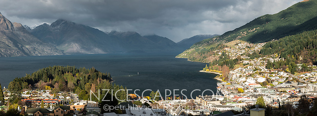 Panoramic view of Queenstown and Lake Wakatipu, Central Otago, New Zealand