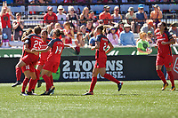 Portland, OR - Saturday September 02, 2017: Portland Thorns FC celebrate a goal during a regular season National Women's Soccer League (NWSL) match between the Portland Thorns FC and the Washington Spirit at Providence Park.
