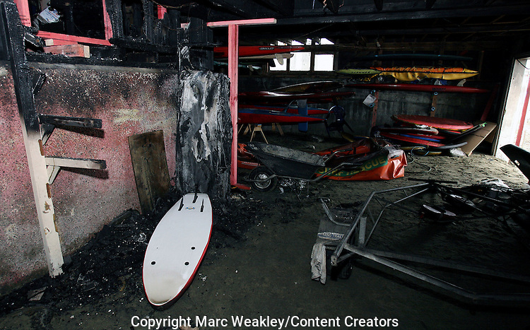 Maranui Surf Life Saving Club following a fire which gutted the building, including the cafe. Photo: Marc Weakley/Content Creators