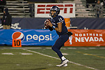 Nevada quarterback Cristian Solano (13) drops back to pass Hawaii in the second half of an NCAA college football game in Reno, Nev., Saturday, Sept. 28, 2019. (AP Photo/Tom R. Smedes)
