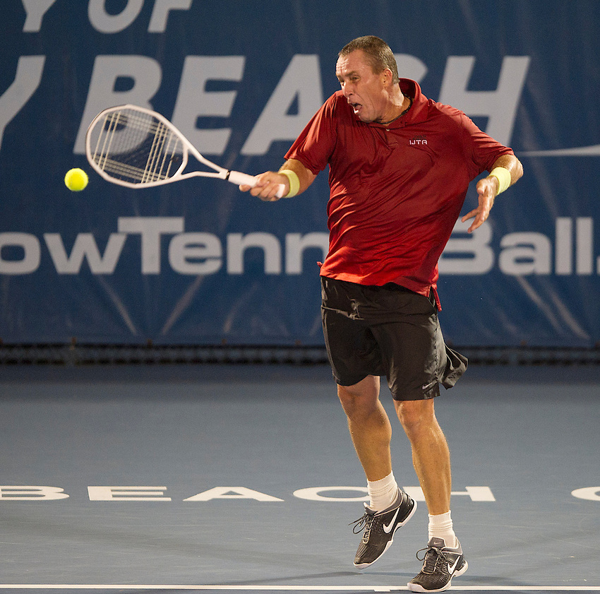 Ivan Lendl (USA) in action during his defeat by Carlos Moya (ESP)  in their Final match today - Carlos Moya (ESP) def Ivan Lendl (USA) 6-4 6-4..Tennis - 2012 ATP Champions Tour - Day 5 - Tuesday 28 February 2012 - Delray Beach Stadium & Tennis Center - Delray Beach - Florida - USA ..