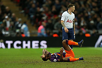 Raheem Stirling of Manchester City rolls around on the floor injured during Tottenham Hotspur vs Manchester City, Premier League Football at Wembley Stadium on 29th October 2018