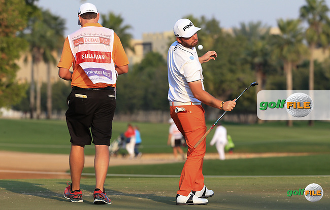 Oops ! Andy Sullivan (ENG) juggling ball on putter during the Pro-Am at the 2016 Omega Dubai Desert Classic, played on the Emirates Golf Club, Dubai, United Arab Emirates.  03/02/2016. Picture: Golffile | David Lloyd<br /> <br /> All photos usage must carry mandatory copyright credit (&copy; Golffile | David Lloyd)