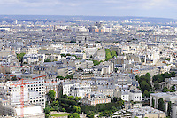 Paris cityscape with white buildings, rooftops and Triumphant Arc