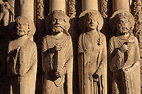 L-r; a prophet, David, a queen and Solomon from the right splay of the central bay of the Royal Portal, 1142-50, Western facade, Chartres cathedral, Eure-et-Loir, France. Chartres cathedral was built 1194-1250 and is a fine example of Gothic architecture. It was declared a UNESCO World Heritage Site in 1979. Picture by Manuel Cohen.