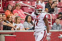 Hawgs Illustrated/BEN GOFF <br /> Trey Knox, Arkansas wide receiver, celebrates after scoring a touchdown on a catch in the second quarter Saturday, April 6, 2019, during the Arkansas Red-White game at Reynolds Razorback Stadium.