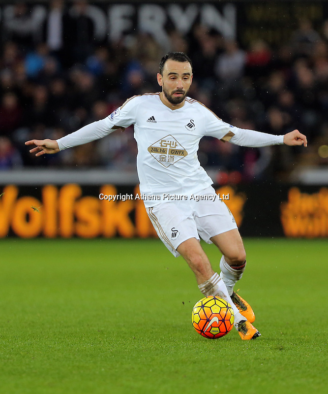 Leon Britton of Swansea during the Barclays Premier League match between Swansea City and Crystal Palace at the Liberty Stadium, Swansea on February 06 2016